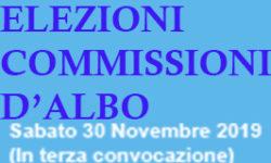 NOTIFICA DELLE CARICHE COMMISSIONI D'ALBO QUADRIENNIO 2019/2023 A SEGUITO DELLA TORNATA ELETTORALE AVVENUTA IN  TERZA CONVOCAZIONE  IL 30 NOVEMBRE  E 1 DICEMBRE 2019